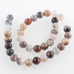 Natürliche Botswana-Achat Perlen, 10 mm, Bohrung: 1 mm; Ca. 38 Stk. / Strang