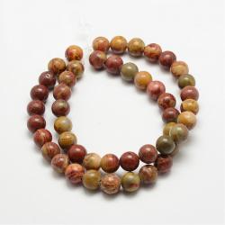 Natürliche roter  Regenbogenjaspis-Perlen,  10 mm, Bohrung: 1 mm; Ca. 37 Stk. / Strang