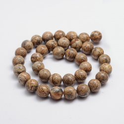 Natürliche Bildjaspiss Perlen, 6 mm, Bohrung: 1 mm; ca. 65 Stk. / Strang