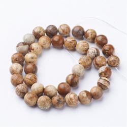 Natürliche Bildjaspiss Perlen,c a. 8 mm Bohrung: Ca. 1 mm ca 47 perlen pro Strang
