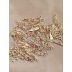 10 stk kl Flügelanhänger silberfarben, 17x5mm