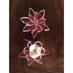 Strassblume rosa auch als verbinder verwendbar. 35x30mm