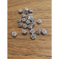10 stk kl Metallperle Rose 6.5mm bohrung 1mm