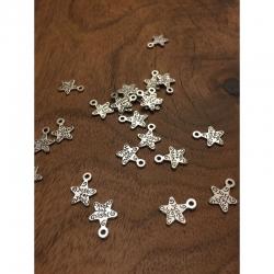 10 stk Sterne Antiksilber, 14x12x1mm, bohrung1mm.