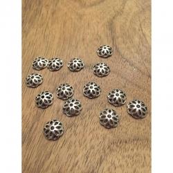 10 stk Perlenkappe tibetsilber 12mm, bohrung 2mm