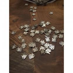 10 stk Hand made acryl, 12.5x11x1.5mm,bohrung 1.5mm silbern