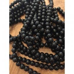 Natürliche schwarze Steinperlen 10mm bohrung 1mm