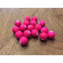 10 stk Acrylperle gummiert deepink 10mm bohrung 1.5mm