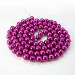 Glas Perlen pearlized, 10 mm Bohrung 1 mm, ca. 85 Stk. / strang