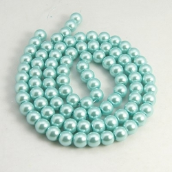 Glas Perlen pearlized, hellblau,10 mm bohrung 1 mm, ca. 85 Stk. / strang